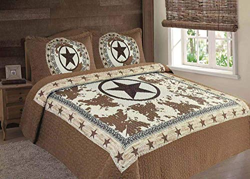 Southwestern Texas Rustic Western Star Cowboy Cow Design Quilt Barbed Wire Bedspread 3 Piece Set (Brown, Oversized Queen)