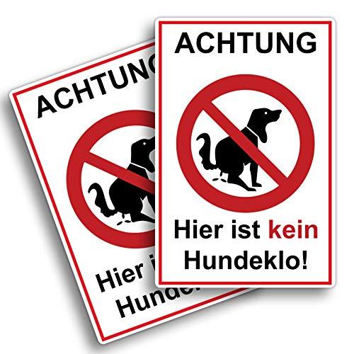 2 Stück Achtung Hier ist kein Hundeklo Schild 20 x 30 cm aus Stabiler PVC Hartschaumplatte 3mm Keine Hundetoilette mit UV-Schutz von STROBO