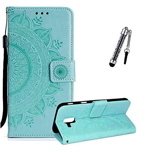 ZCRO Coque pour Huawei Mate 10 Lite, Coque Housse Case Portefeuille Cover Élégant Cuir Porte Carte Magnétique Rabat Flip Case Etui Antichoc et Stylet pour Huawei Mate 10 Lite (Vert)