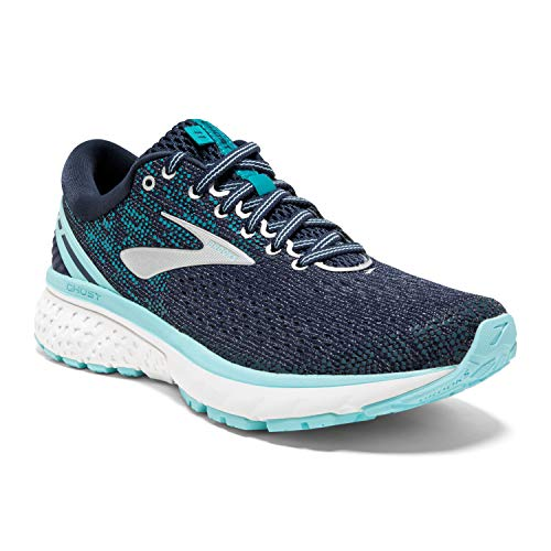 Brooks Womens Ghost 11 Running Shoe - Navy/Grey/Blue - D - 7.0