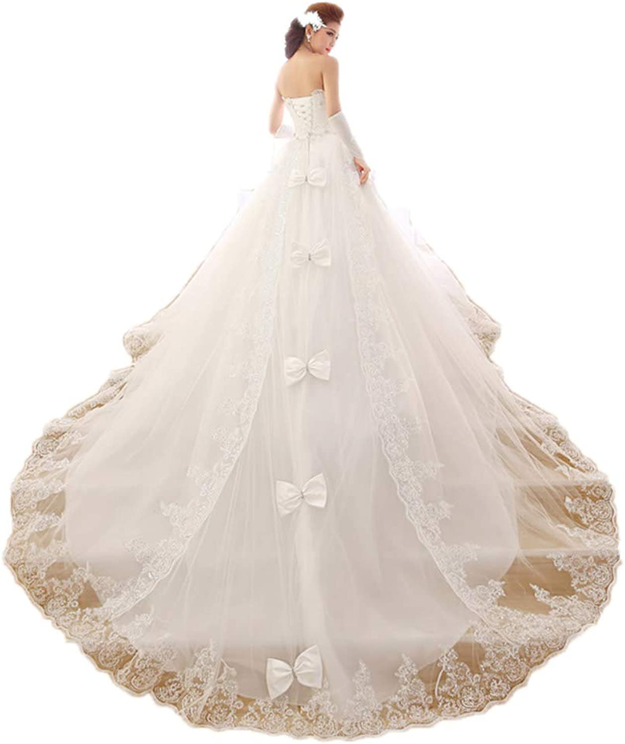 Women's Long Trailing Tube Top Sleeveless Lace Wedding Dress Bride Wedding Dress Bridal Gown