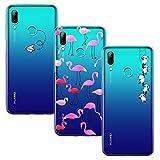 Yoowei 3-Pack Cover per Huawei P Smart 2019 / Honor 10 Lite Trasparente con Disegni, Morbida TPU Silicone Ultra Sottile AntiGraffio Antiurti Custodia per Huawei P Smart 2019