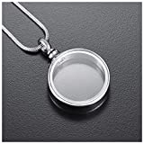 Wxcvz Colgante Conmemorativo Glass Secret Cápsula Cremación Ash Circle Urn Colgante Collar Stash Caja Pequeña Vial