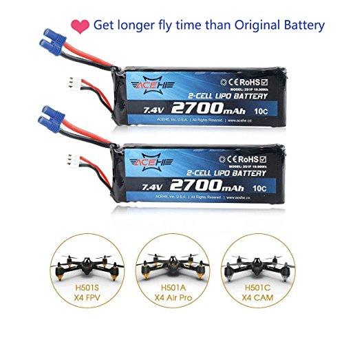 2pcs Hubsan H501S X4 Lipo batería 2700mAh 7.4V 10C EC2 conector