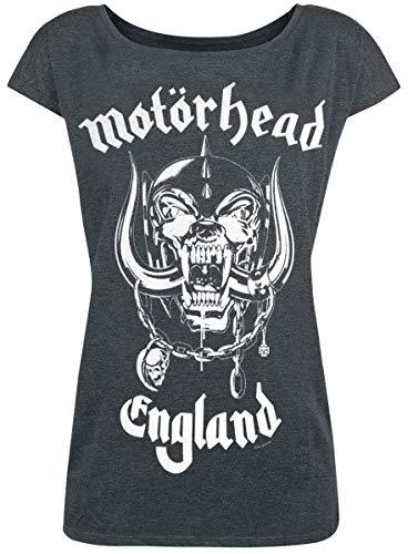 Motörhead England Mujer Camiseta Gris/Melé L, 50% algodón, 50% poliéster, Regular