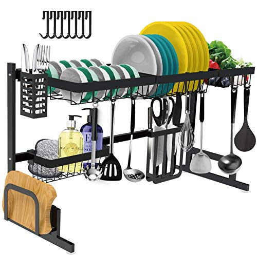 Dish Drying Rack Over The Sink -Adjustable Large Dish Rack Drainer for Kitchen Organization Storage Space Saver Shelf Holder with 7 Utility Hooks Dish Rack Over Sink (32≤ Sink Size ≤ 39.5 inch)