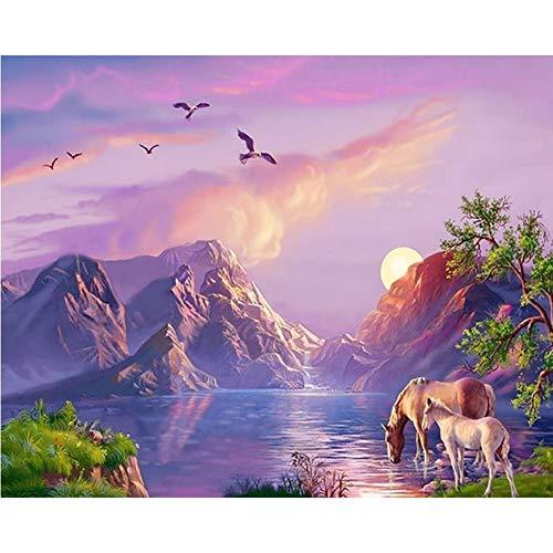 CNLSZM Diamant malerei volle runde Bohrer EIN Riverside Pferd mosaik DIY Diamant Stickerei Tier kreuzstich wohnkultur Geschenk 30x40 cm