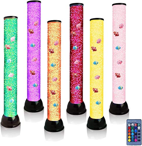 Lightahead Extra Large 32 Inches LED Fantasy Bubble Fish Tube Fake Aquarium with 7 Color Light Effects & Remote Control. The Ultimate Sensory Lamp., Black (VR4970B)