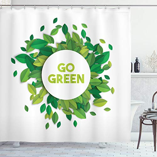 ABAKUHAUS Zitat Duschvorhang, Go Green Öko-Bewusstsein, mit 12 Ringe Set Wasserdicht Stielvoll Modern Farbfest und Schimmel Resistent, 175x200 cm, Apfelgrün Farngrün und Weiß