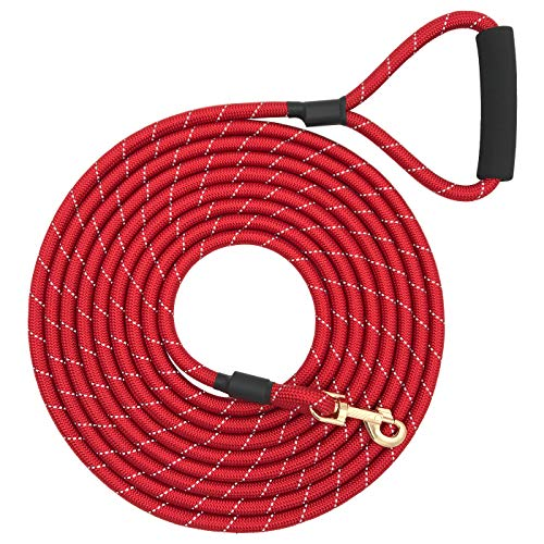 Shorven Nylon Strong Dog Rope Lead Reflective Training Dog Leash with Soft Handle 8-20 FT Long Red (Dia:0.5