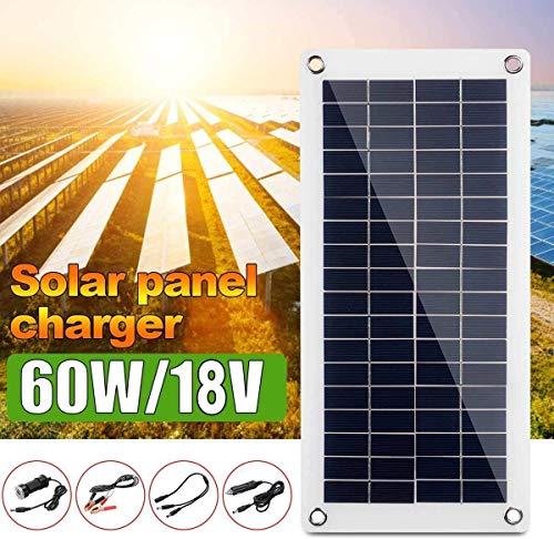 DSHUJC Polykristallines 60-W-18-V-Solarpanel, Solarzellen-Poly-Solarpanel mit einem USB-Ausgang, Ladegerät für Mobiltelefone, zum Aufladen der Batterie eines Wohnmobil-Yachtbatteries