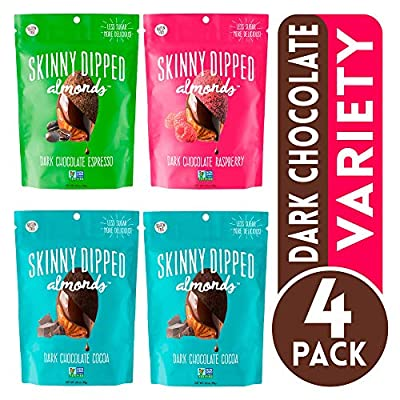 SKINNYDIPPED ALMONDS Dark Chocolate Covered Almonds, Pack Of 4, Variety Pack Of Cocoa, Espresso, Raspberry, Gluten Free, Low Sugar Snacks, 3.5 Oz Resealable Bags