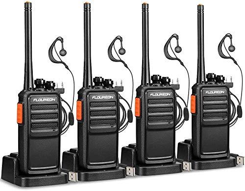 FLOUREON PMR Funkgeräte Walkie Talkies Set Profi Handfunkgeräte Walki Talki 8 Kanäle Twintalker mit CTCSS/DCS, VOX Funktion, LCD-Display, Wiederaufladbar (2 Paare)