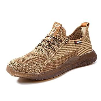 SUADEX Steel Toe Work Shoes Indestructible Shoes Men Women Lightweight Construction Composite Toe Shoes Khaki