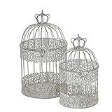 Set di 2 Gabbie per Uccelli Decorative Stile Shabby Chic