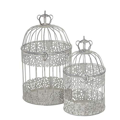 CasaJame Casa Arredamento Decorazione Accessori Design Set di 2 Gabbie per Uccelli Decorative Stile Shabby Chic Vintage Ferro Grigio Chiaro Altezza 26/35 cm Ø 15/19 cm