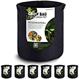 VIPARSPECTRA 6-Pack 3 Gallon Grow Bags - Thickened Nonwoven Aeration Fabric Pots Container with Handles Heavy Duty Durable for Garden Indoor Plants