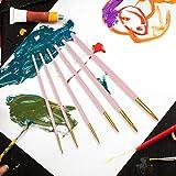 Suministros de arte para principiantes, juego de 6 bolígrafos de acuarela puntiagudos, pincel de pintura, pincel puntiagudo, pintura acrílica(Matte powder rod)