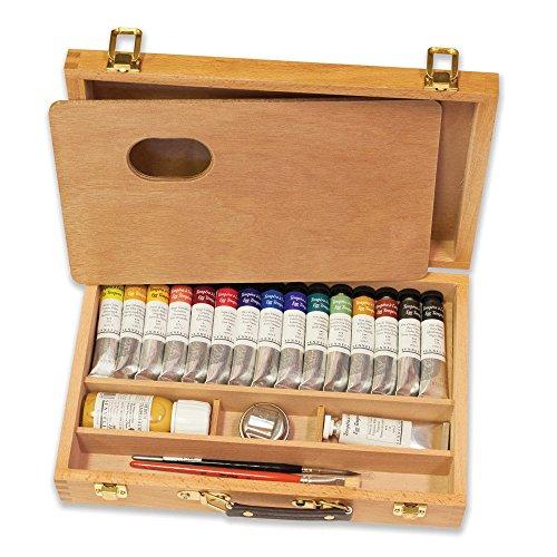 Sennelier Egg Tempura Wood Set, Includes 16-21ml Watercolor Tubes & Accessories