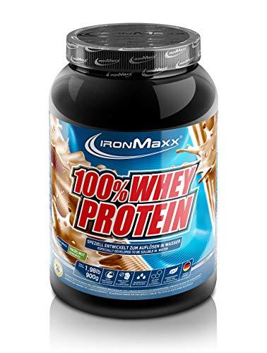 IronMaxx 100% Whey Protein - 900g Dose - 18 Portionen - Haselnuss - Hochwertiges Eiweißpulver für Proteinshake auf Wasserbasis - 36 leckere Geschmäcker - Designed in Germany