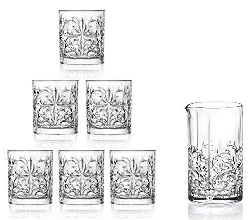 RCR cristalleria Italiana Tattoo Set Bicchiri E Mixing Glass in Cristallo Ecologico, Materiale 100% riciclabile nel Mercato del Vetro.