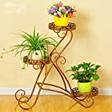 LQQGXL Iron flower stand Green basket Balcony Living room Indoor flowerpot Multifunctional plant frame 3 stories Flower stand ( Color : White )