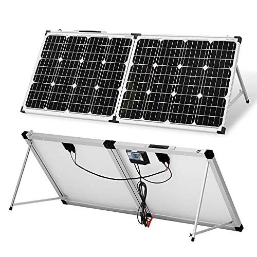 DOKIO Panel solar portátil plegable 100 vatios 12 voltios maleta solar monocristalina con controlador de carga impermeable