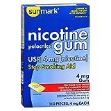 Sunmark Nicotine Polacrilex Gum 4 mg Original - 110 ct, Pack of 4
