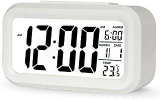 TXY LED Digital Alarm Clock Backlight Snooze Mute Calendar Desktop Electronic Bcaklight Table Clocks Desktop Clock (White)