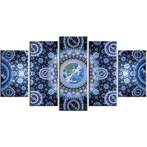 Lienzo De 5 Piezas Pintura De La Lona PatróN De Flor Azul Arte De La Pared Cartel De ImpresióN Hd Estilo éTnico DecoracióN Del Hogar Imagen Modular Marco Del Dormitorio -30x40 30x60 30x80cm
