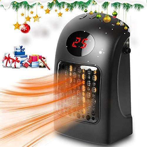 Space Heater, Electric Ceramic Fan Heater With Adjustable Thermostat,Mini Personal Portable Heater Fan With Over-Heat Protection, 900W Table Heater with LED Display Timer for Home Office