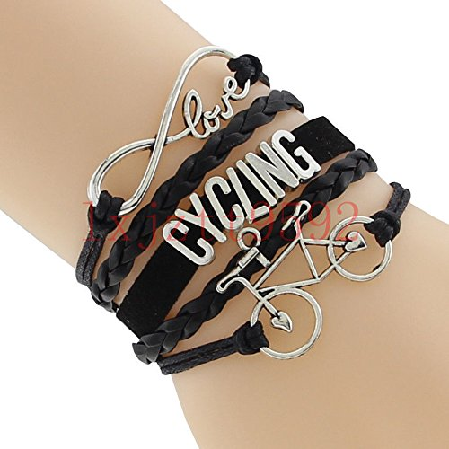 wanmanee Infinity Love Cycling Bracelet With Bike Charm Leather Bracelet-Bicycle Sports#2