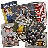 Chapas Vintage Boemy |. Pack de 7 Chapas Surtidas | Placas Metálicas Retro para decoración de...