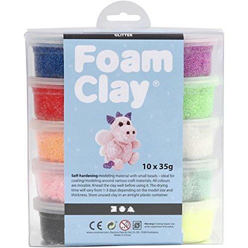 Foam Clay® Sortiment verschiedene Farben, Glitzer 10x35g