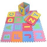 Alfombra rompecabezas de Goma Eva con de 26 letras del alfabeto de KRAFTZ; multicolor
