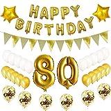 Oumezon Globos decorativos para 80 cumpleaños de color dorado, set de 80 cumpleaños para niñas, hombres y mujeres