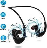 Waterproof Headphones for Swimming, IPX8 8GB in-Ear Wireless Earbuds Sport Wearable MP3 Player