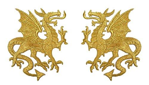1 Paar Applikationen Wappen Drachen 12,6 x 8cm Farbe: Lurex-Gold präsentiert von 1A-Kurzwaren vor179-1