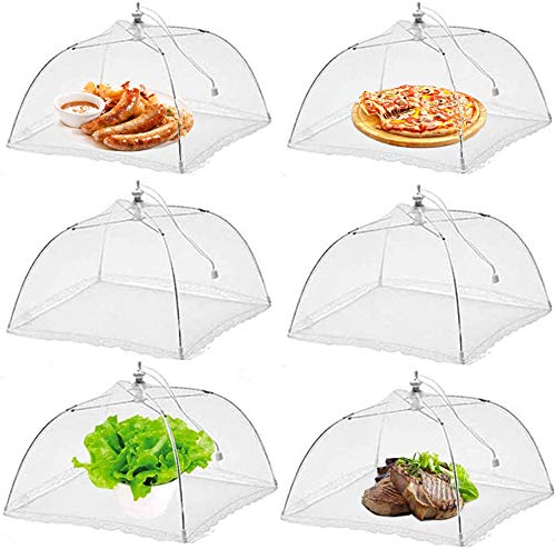 (6 Pcs) Pop-Up Mesh Food Covers Tent Umbrella For Outdoors Parties Picnics 17 x 17 Inches Food Protector Net Screen Tents Keep Out Flies Wasp Bugs Mosquitoes