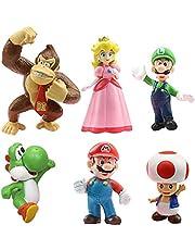 Super Mario Brothers,6 stuks Super Mario speelgoedfiguren, Figuren Super Mario taartdecoratie Mario cupcake figuren voor verjaardag party kinderen