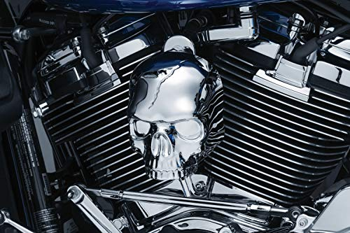 Kuryakyn 5730 Motorcycle Accent Accessory: Skull Horn Cover for 2017-19 Harley-Davidson Motorcycles with Stock Waterfall Style Horn Cover, Chrome