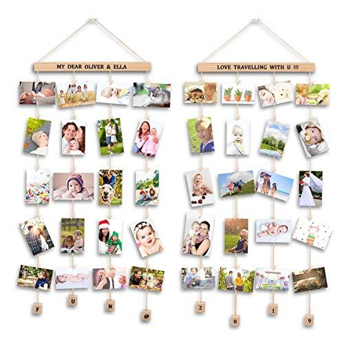 Uping Bilderrahmen Collagen, 2erSetBilderrahmen Fotowand Mit 40 Kleinen Holzklammern und 5 Hanfseil für Wohnkultur (Mit Alphabet und Zahlenaufkleber)