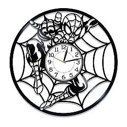 Kovides Spider-Man Vinyl Record Wall Clock Superhero Film Birthday Gift Idea for Fan Marvel Comics Handmade Clock Spider-Man Vinyl Clock 12 Inch for Fan Movie Original Home Decor