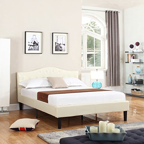 Divano Roma Furniture Classic Deluxe Bonded Leather Low Profile Platform Bed Frame with Curved Headboard Design and Button Details-Fits Full Mattresses-Ivory