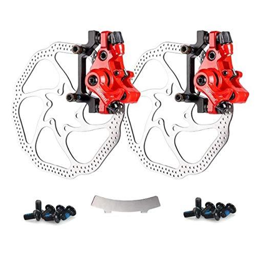 SASCD Vélo Frein à Disque Kit, Avant et arrière Compris Calibres, 160 mm Rotor, Convient for VTT, VTT, BMX, etc. (Color : Red and Silver)