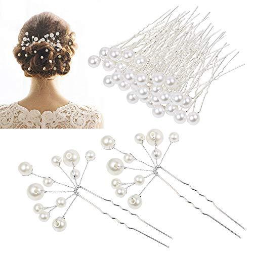 Haarnadeln Hochzeit Brautperlen Kopfschmuck, MOOKLIN 42 Stück U-förmig Haarspange mit Kristallen Braut Haarschmuck, für Frauen und Mädchen, Kommunion Party, Hochzeit Braut Haarschmuck