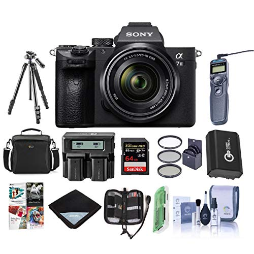Sony Alpha a7 III 24MP UHD 4K Mirrorless Digital Camera with 28-70mm Lens - Bundle 64GB SDHC U3 Card, Camera Case, Spare Battery, Tripod, Dual Charger, Remote Shutter Release, Software Pack, and More