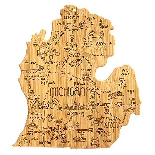 Totally Bamboo Destination Michigan State Shaped Serving and Cutting Board, Includes Hang Tie for Wall Display