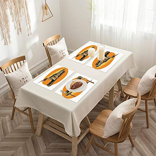 Sets de table de Rectangulaire lavables, durables, résistants à la chaleur et antidérapants,Guerre, Pop Art moderne Image grunge de pistolet marin géant a,Salle à Manger de Cuisine de Fête (Lot de 4)