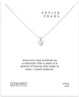 Petite Pearl Like Bezel Necklace - Silver Tone